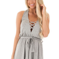 Heather Grey Backless Halter Romper