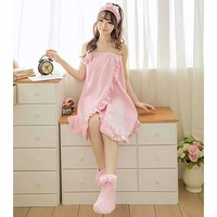 Women Ruffles Nightgowns Autumn Sleepwear Sexy Strapless Bowknot Tube Dress Printed Bath Towel Suits Bathrobe+ Headband+Shoes