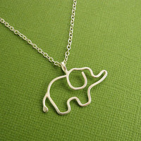 Elephant Necklace, Baby Elephant Necklace, Argentium Sterling Silver, Sterling Silver Chain, Made To Order
