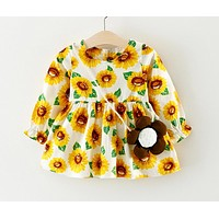 Baby dresses girl baptism dress autumn and winter long sleeve flower print dress for 1 year birthday party