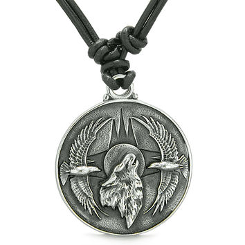 Amulet Howling Wolf Eagles Wild Moon Powers Charm Leather Pendant Necklace