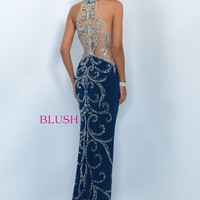 Blush 11039 Vine Beaded Fitted Prom Dress - RissyRoos
