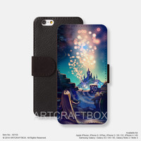 Rapunzel lanterns Oil Painting iPhone Samsung Galaxy leather wallet case cover 154