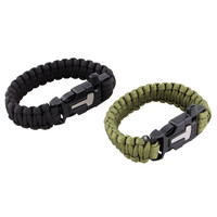 4 in 1 Flint Fire Starter Whistle Outdoor Camping Survival Gear Buckle Travel Kit Equipment Paracord Rescue Rope Escape Bracelet