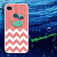 Cute Baby Whale Chevron - iPhone 4 Case iPhone 4s Case iPhone 5 Case