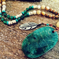 Long African Jade Hippie Boho Feather Pendant. Native american inspired