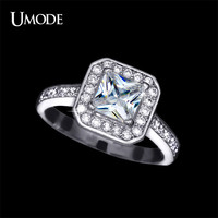 UMODE Classic White Gold Color Princess Cut Square Zirconia Cathedral Rings For Women Fashion Wedding Anniversary Ring UR0126