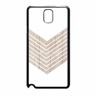 White Geometric Minimalist With Wood Grain Samsung Galaxy Note 3 Case
