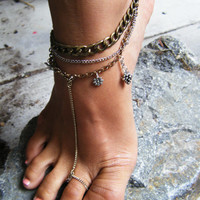 Hippie chain anklet, Charm anklet, Mother Nature jewelry, Hippie jewelry, Bohemian Jewelry, Unique anklet