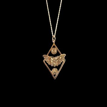 Moth Charm Necklace with Moon And Sun