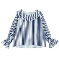 Peter Pan Collared Long Sleeve Stripe Blouse