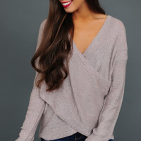 Dusty Pink Wrap Front Sweater
