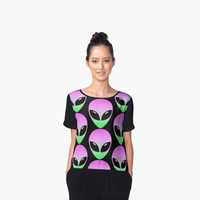 'Pretty Alien' Women's Chiffon Top by ChessJess