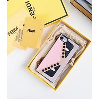 FENDI Trending Women Stylish Chic Mobile Phone Cover Case For iphone 6 6s 6plus 6s-plus 7 7plus 8 8plus X Pink