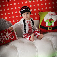Baby Boy Christmas Tie Bodysuit or Shirt with Suspenders Crochet Hat and Leg Warmers