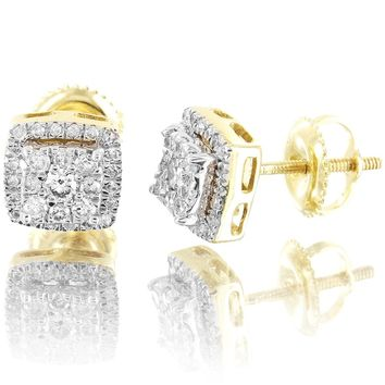 10k Gold Real Diamonds 3D Square Shape Icy Unisex Earrings