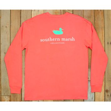 Southern Marsh Authentic Long Sleeve Tee-Coral
