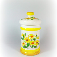 Yellow Daisy Canister Small Ceramic Storage Container Sears Roebuck Vintage