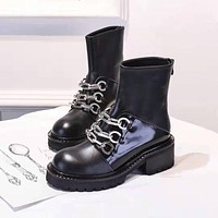 GIVENCHY2021  Trending Women's men Leather Side Zip Lace-up Ankle Boots Shoes High Boots07030gh