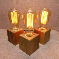 Wooden Table Lamp Vintage Desk Lamp  Bedroom Night Light Table Light Desk Light Coffee Bar