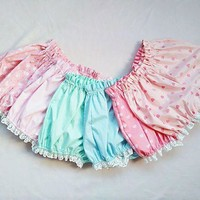 LMFON Kawaii Summer Candy Color Casual Shorts White Ruffles Design Shorts Pink Sexy Lolita Clothes Candy Shorts For Young Girls