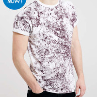 BURGUNDY WHITE WASH ROLLER T-SHIRT - Men's T-shirts & Tanks - Clothing