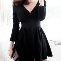 Black V-Neck Long Sleeve Mini Dress