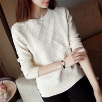 2019 New women sweater Casual o-neck long sleeve solid knitted pullovers Autumn winter warm knitted clothing