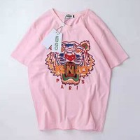 Kenzo Tide brand couple classic embroidery tiger head wild round neck half sleeve T-shirt pink