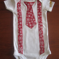 Baby Christmas outfit, Boy red white snow flake Onesuitt, Baby boy X mas outfit, boy Christmas neck tie onsie, Boy Christmas bow tie Onesuit
