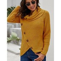 New single row diagonal button long sleeve asymmetric T-shirt for women