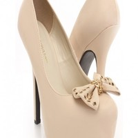 Natural Faux Leather Grommet Bow Pump Heels