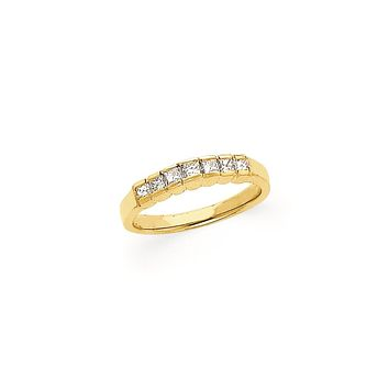 14K Yellow Gold AA Quality Princess Cut 7-Stone Real Diamond Band