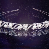 Bridal Wedding Prom Party Faux Pearl Jewelry Bride Tiara Headband Hairband (Color: White)