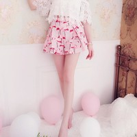 2018 Summer Women Shorts Flamingo Printed High Waist Pleated Cute Shorts For Girls Beautiful Women'S Clothing