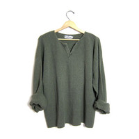 Sage green thermo shirt 90s boyfriend slouchy henley oversized long underwear knit sweater boxy grunge thermo button up thermal shirt Large