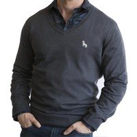 Charcoal Grey Cotton V-Neck Sweater Sizes L & XL Available