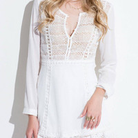 Cut Out White Lace Dress with Long Sleeves