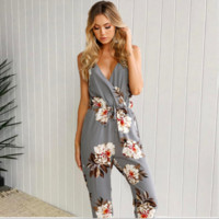Blue Blossom Charm Floral Cotton Boutique Jumpsuit Playsuit Rompers Overalls