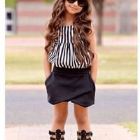 2015 New Summer wear Girls Casual TOPS + Short Clothing Set Suit Girls Clothe Fashion wear