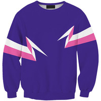 Purple Lightning Print Long Sleeve Sweatshirt