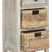 Everly Drawer Side Table Vintage White
