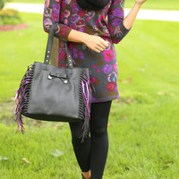 Fringe Party Tote in Black - Betsey Johnson
