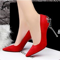 Sexy Pumps Red Bottom High Heels Suede Leather High Heel Ladies