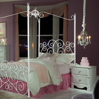 Standard Furniture Princess 2 Piece Kids' Canopy Bedroom Set in White Metal