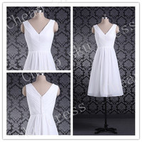 Fashion Style V-Neck Lace-up Ruffle Knee-length Chiffon Bridesmaid Dresses Party Dresses Evening Dresses Prom Dresses Formal Dresses 2014