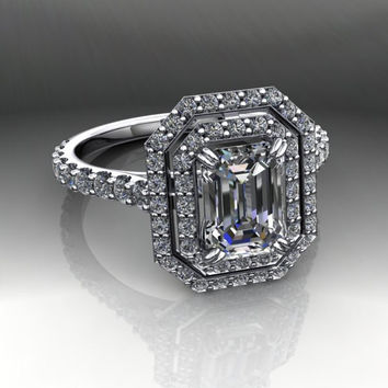 Forever Brilliant Moissanite and Diamond Engagement Ring Emerald Cut 1.64CTW
