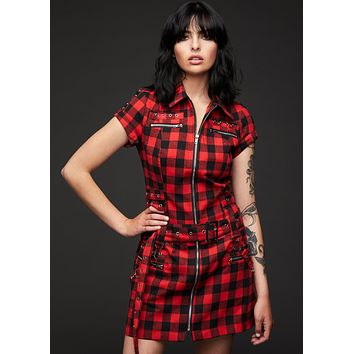 Pretty Vacant Checkered Mini Dress with Buckles and Lacing