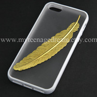 Iphone 5 Case, golden feather Iphone 5 Case, iPhone Case 5 white side clear case for iphone 5