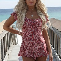 MOTEL Ditsy Rose Red Bae Playsuit